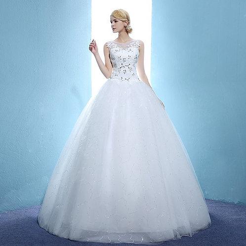 O Neck Christian Gown Beautiful Studs Work Wedding Ball Gown HMD16050039