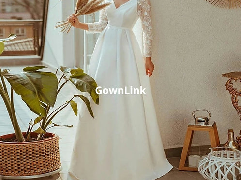 Christian Wedding Gowns Catholics White A Line Gown GLD30T  Train India