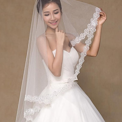 Christian Wedding Short White Veil  With Comb 1.5 metre