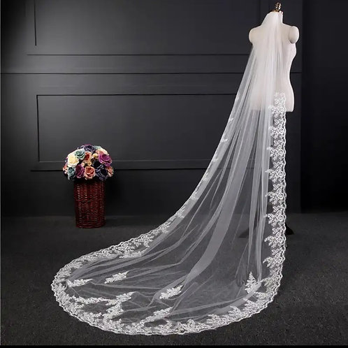 Christian Wedding Veil Wedding veil White GLVHL08  front face Layer with comb
