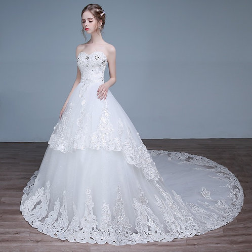 White Christian & Catholics Wedding Long Train Dress HS583T With Sleeves