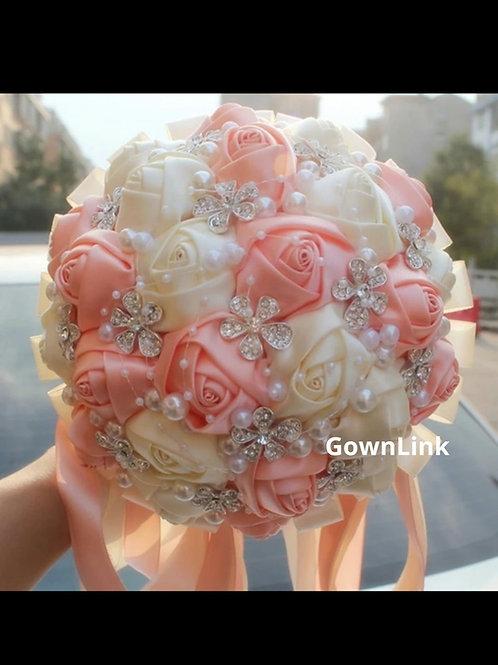 Christian Bridal Long Bouquet Pink & White Flowers  IndiaBouquet-B 65