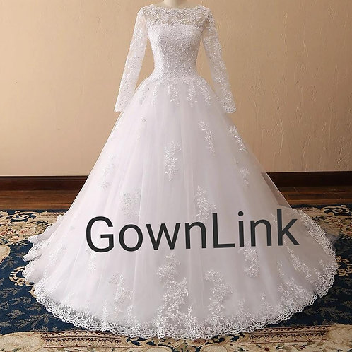 Gownlink Beautiful Full Stitched Christian Train Gown Dress in White GLCYF68