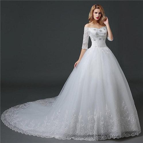 White Christian & Catholics Wedding Long Train Dress HS608-1 With Sleeves