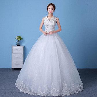 White Beautiful Wedding  Dress Gown MD83W