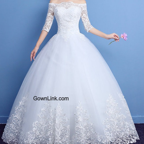 Christian & Catholics Wedding Bridal Ball Gown GLLQD09 With Sleeves India