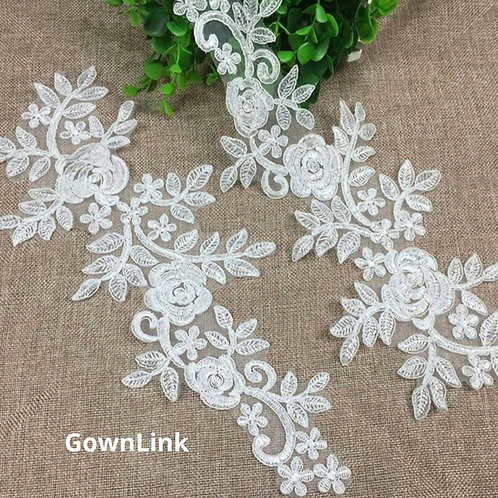GownLink Lace Patch Fabric White Flowers lace Applique,White Beautiful Patch