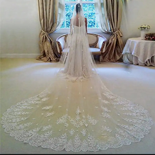 White Wedding  Premium Long Veil GLVHL12 With front face Layer and Comb INDIA