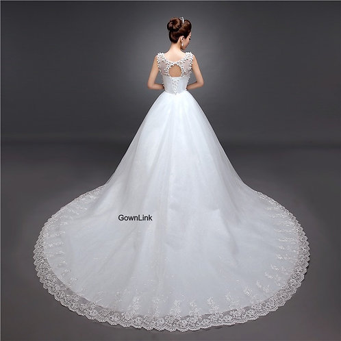 White Christian & Catholics Wedding Long Train Gown GLGTH58 With Sleeves India