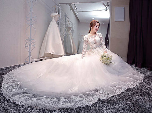 White Christian & Catholics Wedding Long Train Gown QHS675 With Sleeves