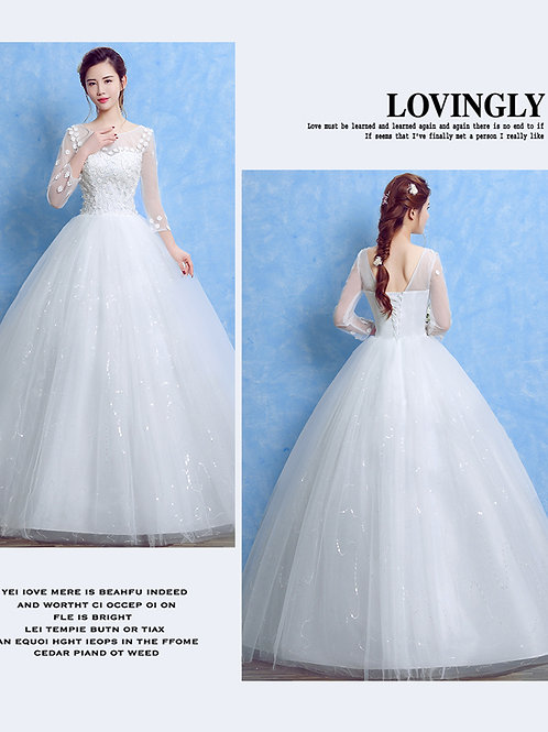 White Wedding Ball Gown Sleeves