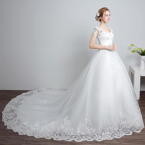 Beautiful White Gown Christian Wedding Dress Special Ocassion Gown MD88