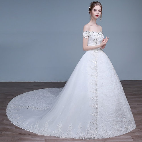 White Christian & Catholics Wedding Long Train Gown HS595 With Sleeves