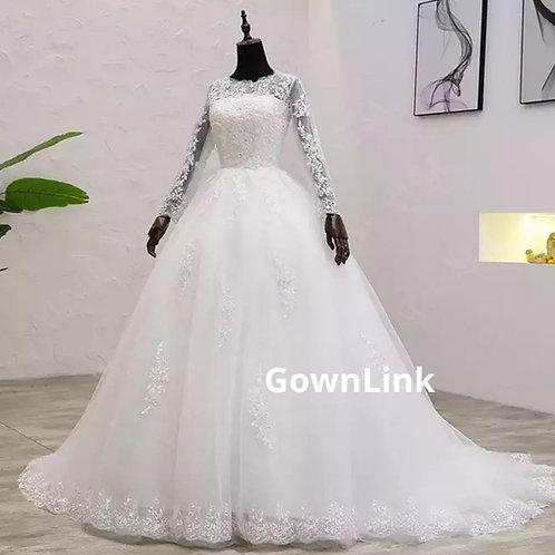 White Christian & Catholics Wedding Train Frock GLCYF54 With Sl