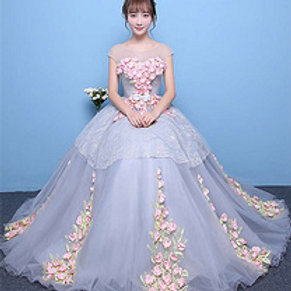 Floral Pink And Blue Wedding Gown Ball Dress ZH06