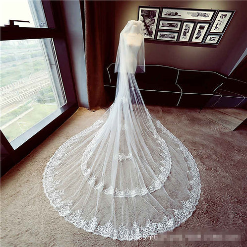 Christian Wedding Catholic Bridal Long Veil White Train Veil GLVAL028