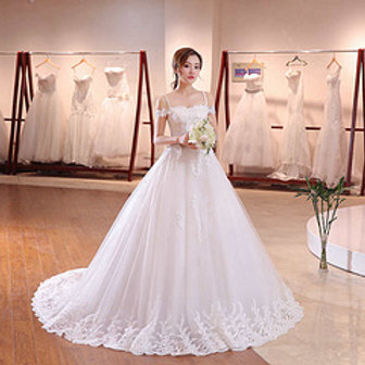 White Christian & Catholics Wedding Long Train Frock QHS677 With Sleeves