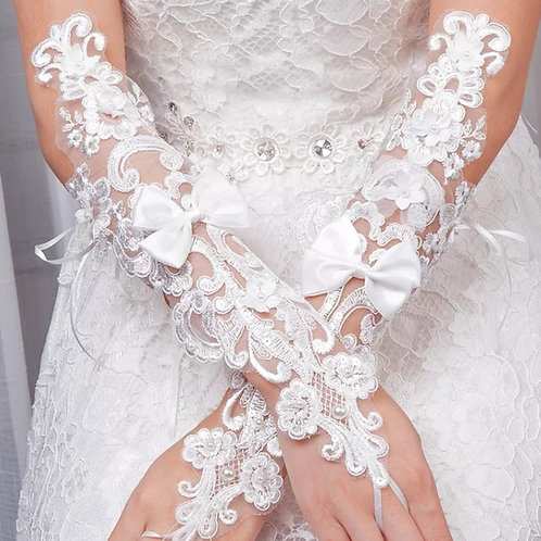 Christian Wedding Bridal White Long Gloves  India [92]
