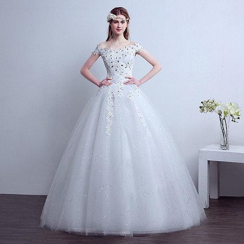 White Beautiful Wedding Dress Gown HMD16050012
