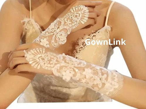 Christian Bridal White Flowers Gloves [6]  India