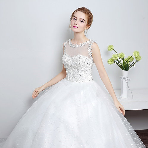Christian Wedding Floral White Gown Wedding Dress
