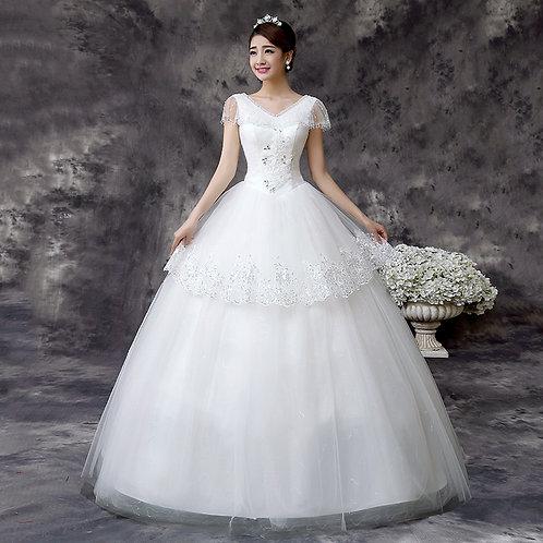Women's Party White Wedding Gown Wedding Dress Floor-Length Ball Christian BB3