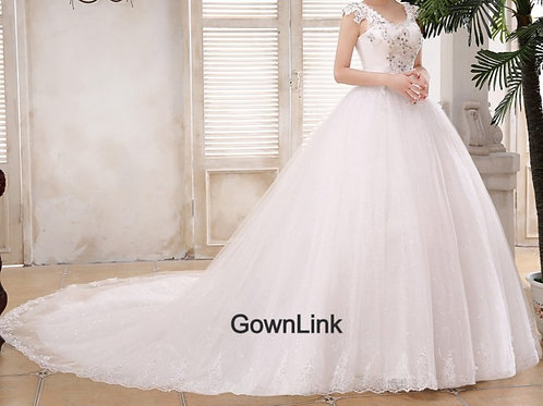 White Christian & Catholics Wedding Long Train Frock GLQT48 With Sleeves
