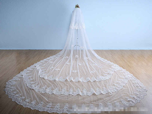 Gownlink Premium Christian Bridal Long Veils 2 with front Layer GLVAL038W India