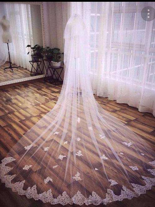 Christian Wedding Bridal Long 2 Layer White veil Accessorie Veil-GLChrochet