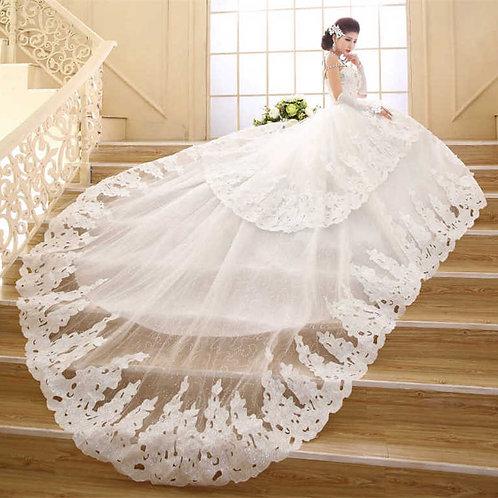 White Christian & Catholics Wedding Long Train Dress QHS583 With Sleeves