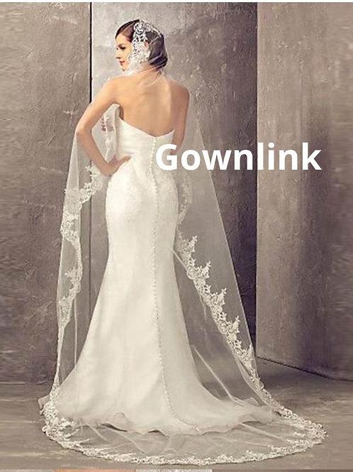 Christian Wedding Catholics wedding white long 2 Layer veil GLCPA859 India