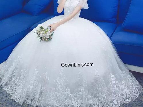 Christian Wedding ,Catholics Wedding White Ball Premium GLD331 extra Long sleeve
