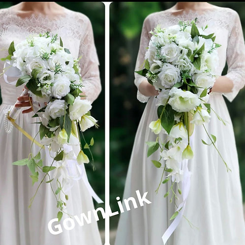 Bridal White Green Bouquet Wedding Boquet GownLink India B 63