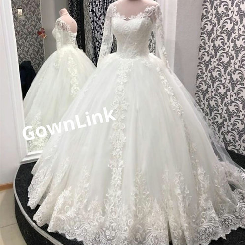 Christian Catholics Wedding Bridal Train Gown With Sleeves GLGT042