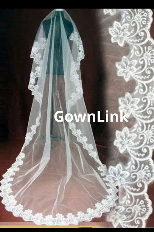Gownlink Christian Bridal White Long Veil 3 Metre GLV09L With Comb  Indi