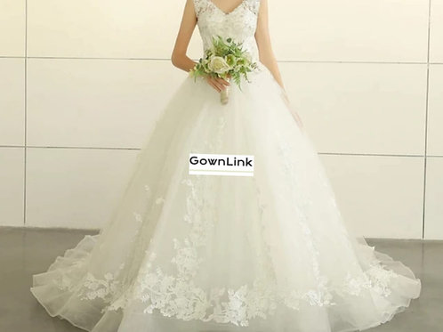 Christian & Catholics Wedding Bridal Train Gown With Sleeves GLGT030