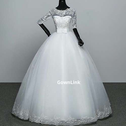 Christian & Catholics Wedding Bridal Ball Gown GLHS601(BOW) With Sleeves