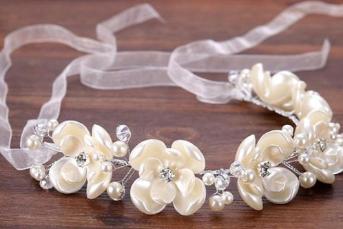 Christian Wedding Bridal Tiara , Wreath Pearl Crown W 87