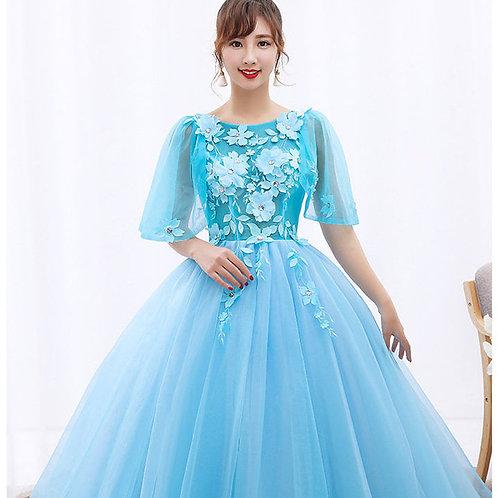 Wedding Dresses High Neck Evening O-Neck ALY011-BLUE