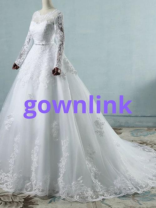 White Christian & Catholics Wedding Long Train Dress ZJ9065 With Sleeves