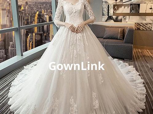 White Christian & Catholics Wedding Train Dress GLFSM-477 With Sleeves