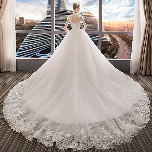 Christian Wedding Catholics Wedding White Train Gown GLVL-W20