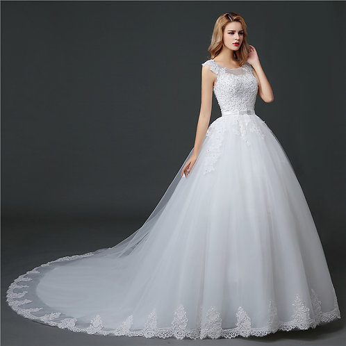 White Christian & Catholics Wedding Long Train Gown HS621 With Sleeves