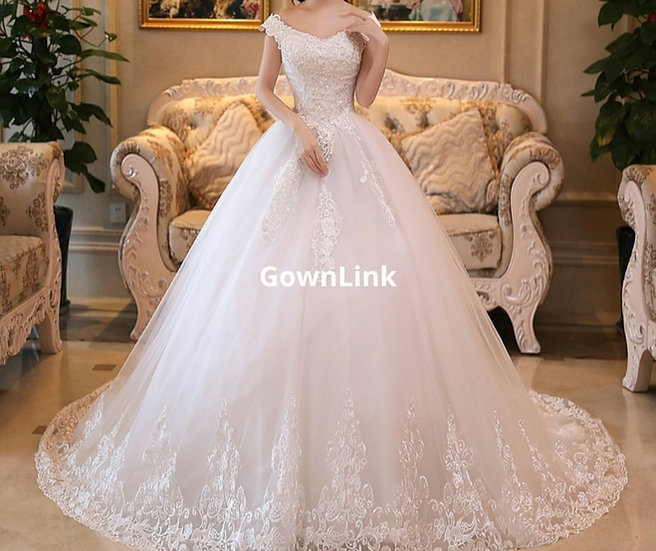 Christian & Catholics Wedding Bridal Train Gown With Slevess GLHSD831 In