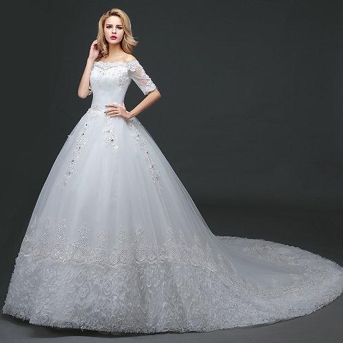 White Christian & Catholics Wedding Long Train Dress HS623 With Sleeves