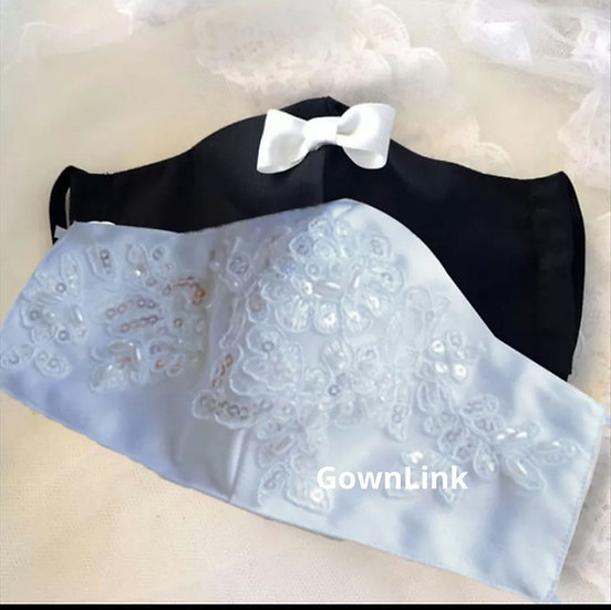 Bride Groom Pair Mask pack of 2