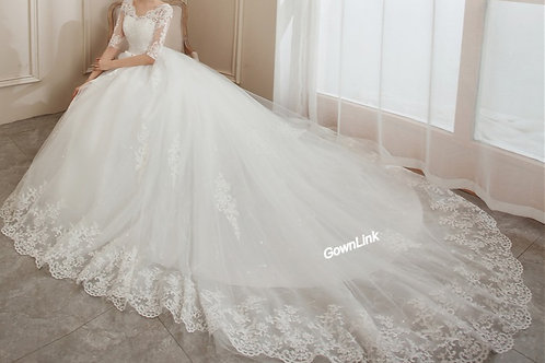 Christian & Catholics Wedding Bridal Train Gown With Sleeves GLH16