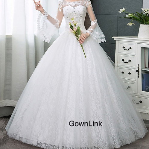 Christian & Catholics Wedding Bridal Ball Gown GLHSD185C With Sleeves