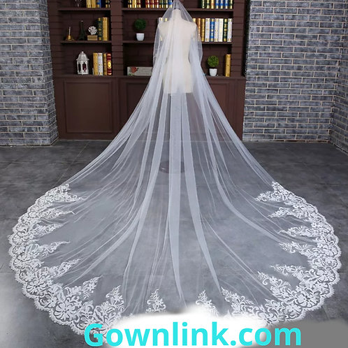 Christian Wedding Long Train Style Veil With Front Face Layer  GLVAL007
