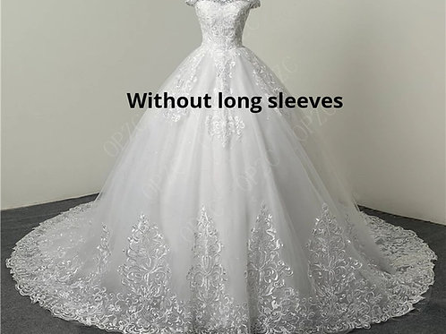 White Christian & Catholics Wedding Long Train Gown LTD09 With Sleeves
